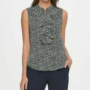 Tommy Hilfiger Floral Sleeveless Ruffle Blouse 854